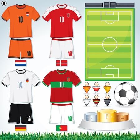 Soccer Vector Collection. Euro 2012 Group D. Netherlands, Danish, Deutsche, Portuguese Teams clip art.