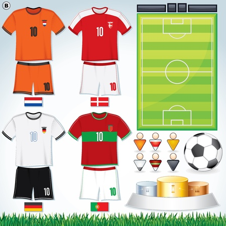 Soccer Vector Collection. Euro 2012 Group D. Netherlands, Danish, Deutsche, Portuguese Teams clip art. Vector
