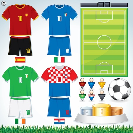 Soccer Vector Collection. Euro 2012 Group C. Abstract National Football Uniform with Variety Objects. Illustration