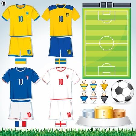 Soccer Vector Collection. Euro 2012 Group D. Swedish, Ukrainian, French, English Teams. Vetores