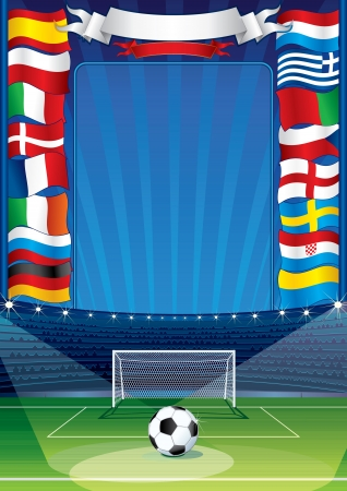 participate: Euro Soccer Background with European Flags. Vector Illustration