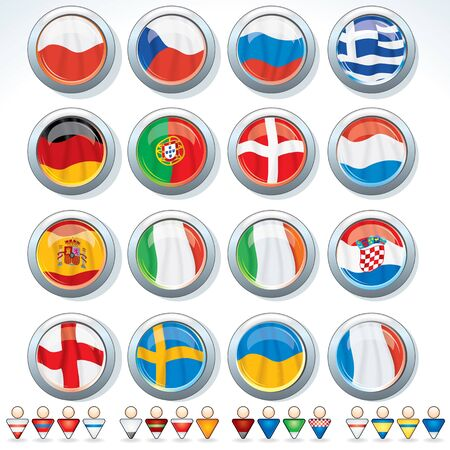 Euro Tournament 2012. Vector Flags of Groups and Signs of National Team Vector