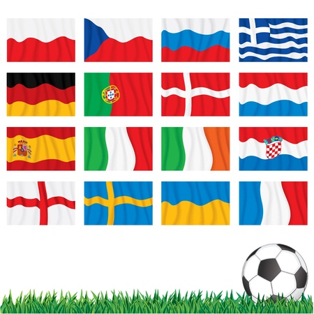 Euro 2012 Championship. Vector Flags of Final Stage Vector