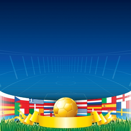 Vector Football Background 2012. Euro Championship Flags and Golden Soccer Cup. Vector