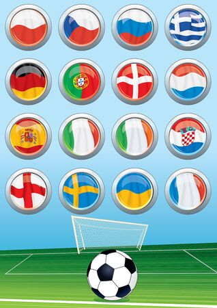 Vector Soccer Background and Set of Euro 2012 Group Flags Vector
