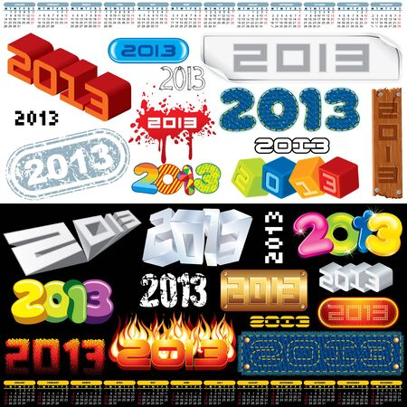 2013 Year Labels, Icons, Tags and Stamps - set of various vector design elements Illustration