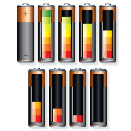 recharge: Set of Vector Battery Icons with Level of Charging