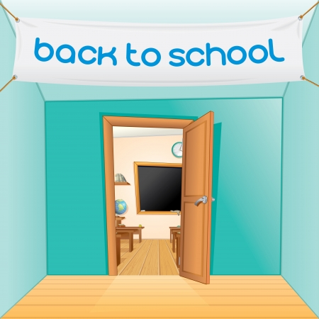 hallway: Back to School Vector Cartoon Illustration
