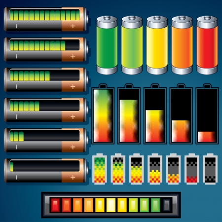 high scale: Vector Batteries  Design Icons Illustration