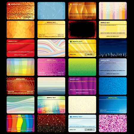 회사 디자인 및 텍스트에 대 한 다양 한 비즈니스 카드 또는 신용 카드 빈 질감 벡터 템플릿