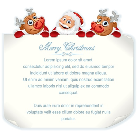 Santa Claus and Rudolph Holding Sign  Vector Background with Space for Your Text