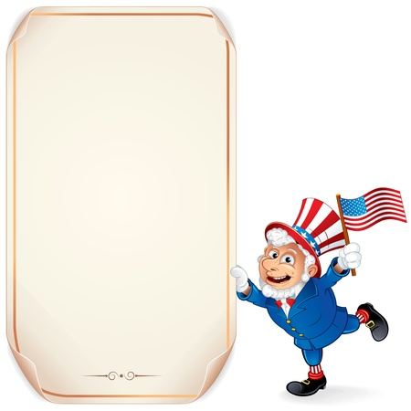 uncle sam: Illustration of Cartoon Uncle Sam with Sign  Perfect for a Fourth of July Design