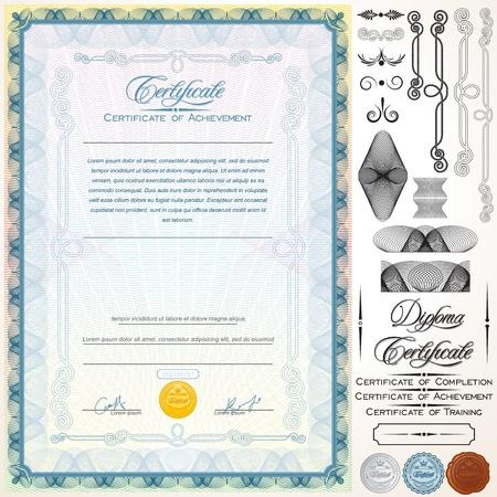 certificat diplome: Dipl�me ou certificat mod�le personnalisable Design Elements, titres et Illustration Vecteur Patterns