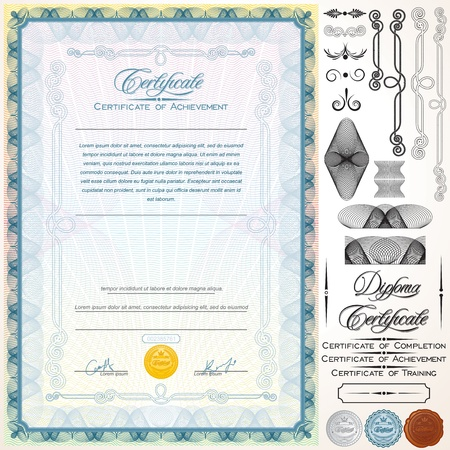 diploma: Diploma o Certificado de elementos de plantilla personalizable dise�o, t�tulos e Ilustraci�n Vector Patterns