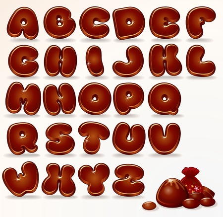 Cool Chocolate Alphabet  Vector Cartoon Font for your Design and Text  Illustration
