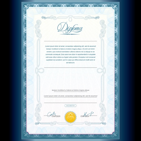 certificate template: Diploma Design  Vector Template Illustration