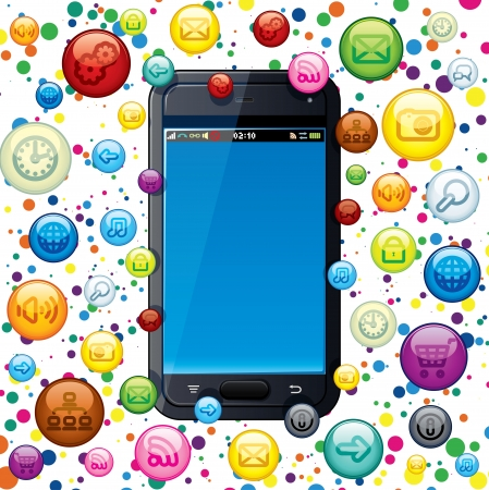 Touchscreen Smart Phone with Cloud of Application Icons  Vector Illustration Stock Vector - 15061202