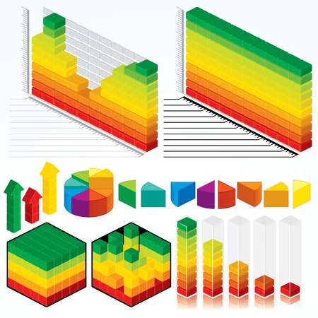 Collection of Vector Isometric Graphs, Charts for Your Presentation Design