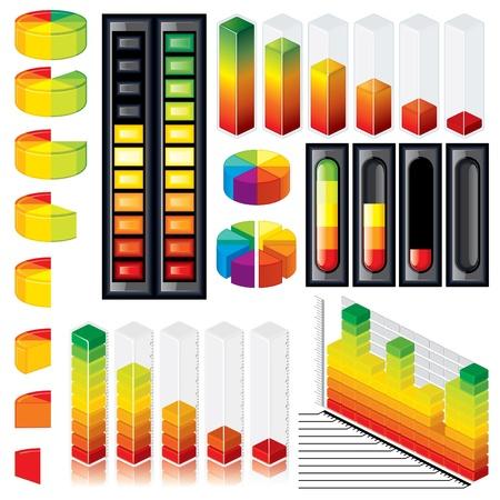 baterii: Kolekcja konfigurowalny wykresy i wektor zestaw Scales