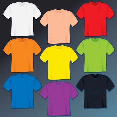 Collection of Color T Shirts  Vector without Gradients Vector