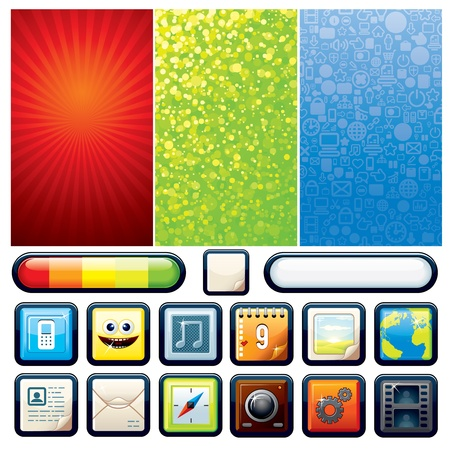 Funky Phone Set  Vector Backgrounds and Interface Elements for Your Design Vector