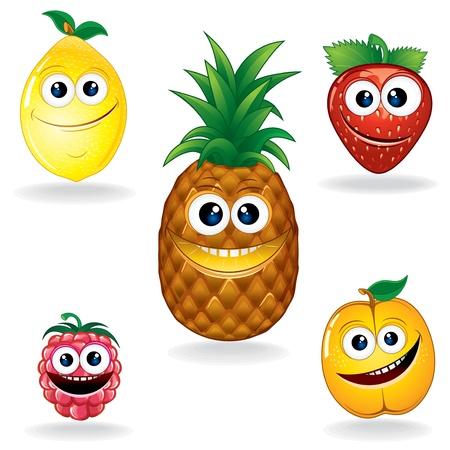 limon caricatura: Juego de Funny Cartoon Vector Serie Frutas Vectores