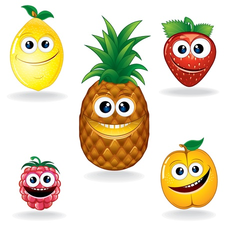 apricot: Set of Funny Vector Fruits  Cartoon Serie Illustration
