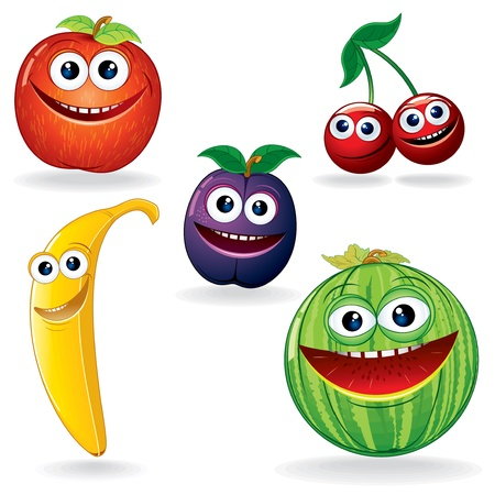 platano caricatura: Conjunto de Vector Clip Art Divertido Frutas Cartoon