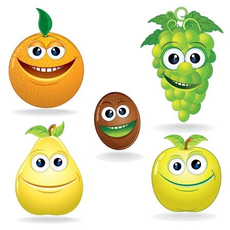 frutas divertidas: Conjunto de Vector Clip Art Divertido Frutas Cartoon