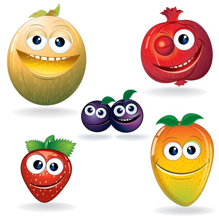 Set of Cute Cartoon Vector Fruits  Clip Art Serie Vector