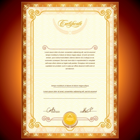 certificate design: Vector Golden Certificate Background Illustration