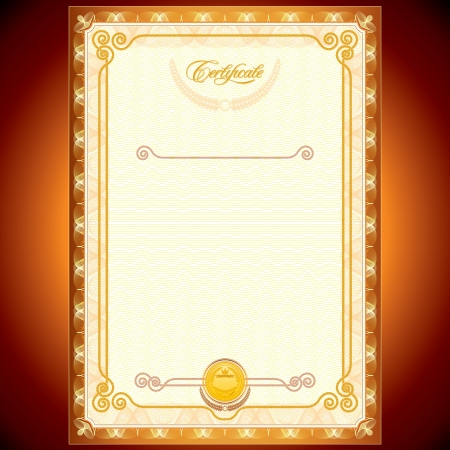 Blank Golden Certificate  Template or Your Design Stock Vector - 15061135