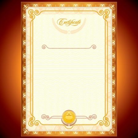 certificado: Plantilla en blanco de certificados de oro o su dise�o