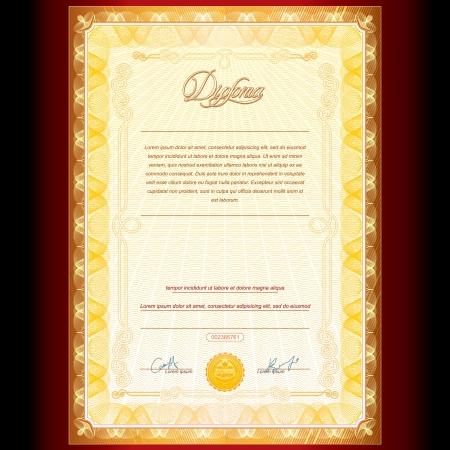 thankful: Royal Diploma de Oro Vector Background