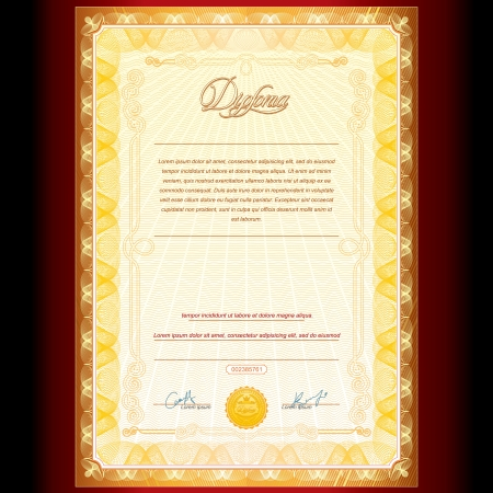 certificate template: Royal Golden Diploma  Vector Background