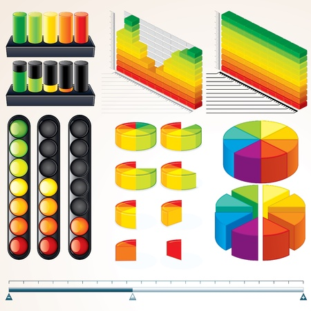 Chart, Graph and Scales  Set of Vector Infographics Elements for your Design  Vector