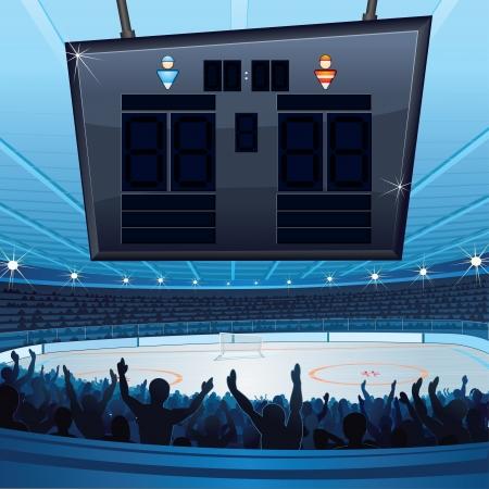 grandstand: Estadio de Hockey vector de fondo con marcador vac�o para el texto Vectores