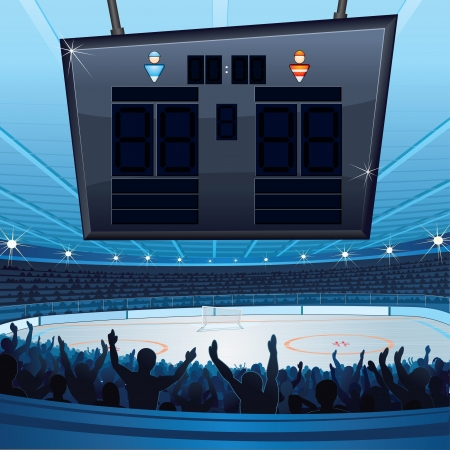 grandstand: Hockey Stadium  Vector Background with Empty Scoreboard for Your text