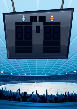 sportive: Ice Hockey Stadium with Scoreboard  Vector Illustration