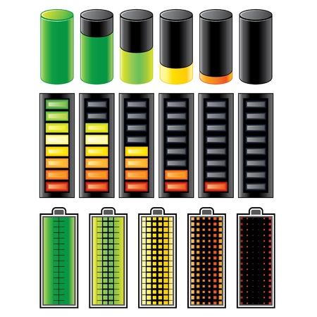 baterii: Poziom ładowania dla akumulatora lub zestawu baterii Vector