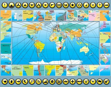 multitude: Mapa del mundo de negocios Kit pictogramas e iconos vectoriales Multitud Vectores