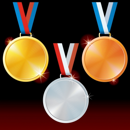 Abstract Golden, Silver, Bronze Medals  Vector Set Stock Vector - 15061182