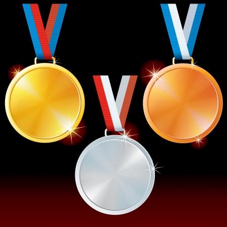 Abstract Golden, Silver, Bronze Medals  Vector Set Stock Vector - 15061182