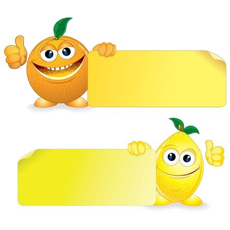 limon caricatura: Frutas Divertidos naranja y limón con la ilustración de la historieta en blanco Sign Vector Vectores