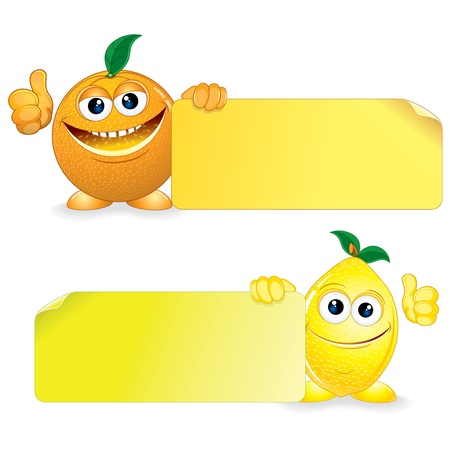 children eating fruit: Orange and Lemon  Funny Fruits with Blank Sign  Vector Cartoon Illustration