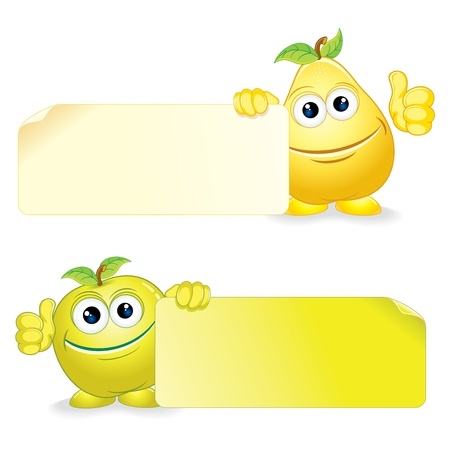 child holding sign: Happy Apple and Pear  Cartoon Fruits with Blank Banner  Vector Clip Art Illustration