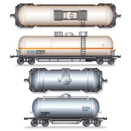 cisterna: Gasolina Ferrocarril y del tanque de aceite Conjunto Ilustración vectorial detallada