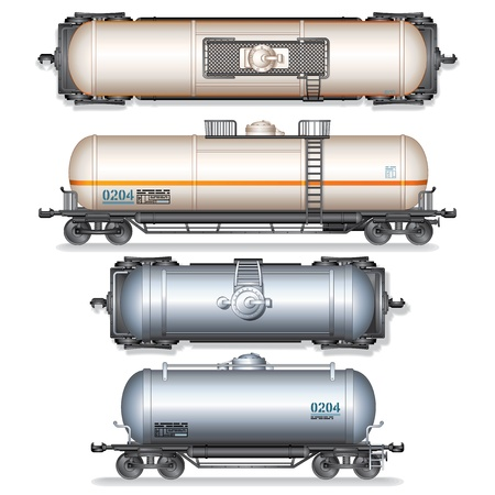 goods train: Railroad Gasoline and Oil Tank Set  Detailed Vector Illustration