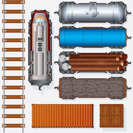 railroad transportation: Abstract Railroad Cargo Train  Detailed vector Illustration Include  Locomotive, Oil Tank, Refrigerated Van, Freight Flat Wagon, Boxcar  Top View Position