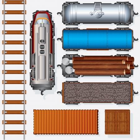 Abstract Railroad Cargo Train Gedetailleerde vector illustratie Inclusief Locomotive, olietank, koelwagen, Freight Flat Wagon, Boxcar Bovenaanzicht Positie